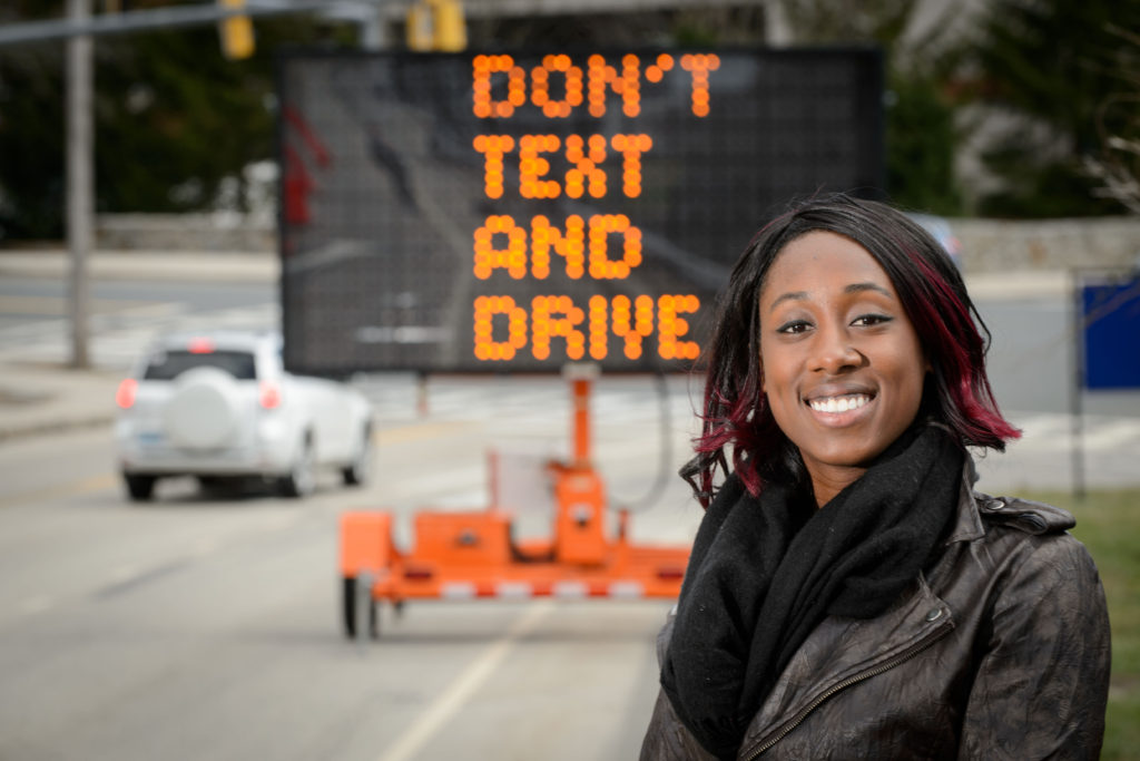 UConn behavioral analyst Marisa Auguste says nearly 90 percent of vehicle crashes are caused by human error. She hopes her research will ultimately help modify risk-taking behavior while driving.(Peter Morenus/UConn Photo)