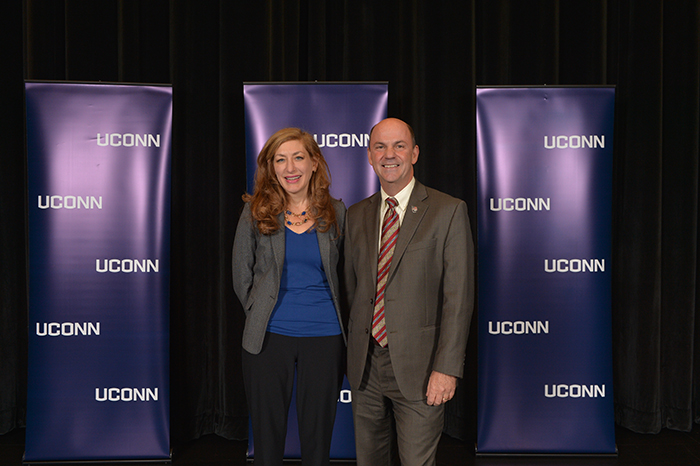 UConn President Susan Herbst and UConn Alum Doug Shidler at an admissions information session held at North Haven High School on Nov. 21, 2016. (Peter Morenus/UConn Photo)