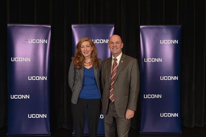 UConn President Susan Herbst and UConn Alum Doug Shidler at an admissions information session held at North Haven High School on Nov. 21, 2016. (Peter Morenus/UConn Photo)