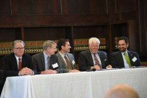A panel discussion at the Eversource Energy Center celebration. From left are ISO New England Vice President of Systems Operations Peter Brandien; Eversource Connecticut Vice President of Engineering Ken Bowes, Eversource Energy Center Director Manos Anagnostou, Connecticut Chief Cybersecurity Risk Officer Arthur House, and Connecticut Department of Energy and Environmental Protection Commissioner Robert Klee. (Photo Credit: Gerald Desimas)