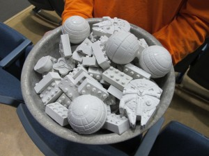 The concrete molds available to students who won Professor Wille's concrete games.