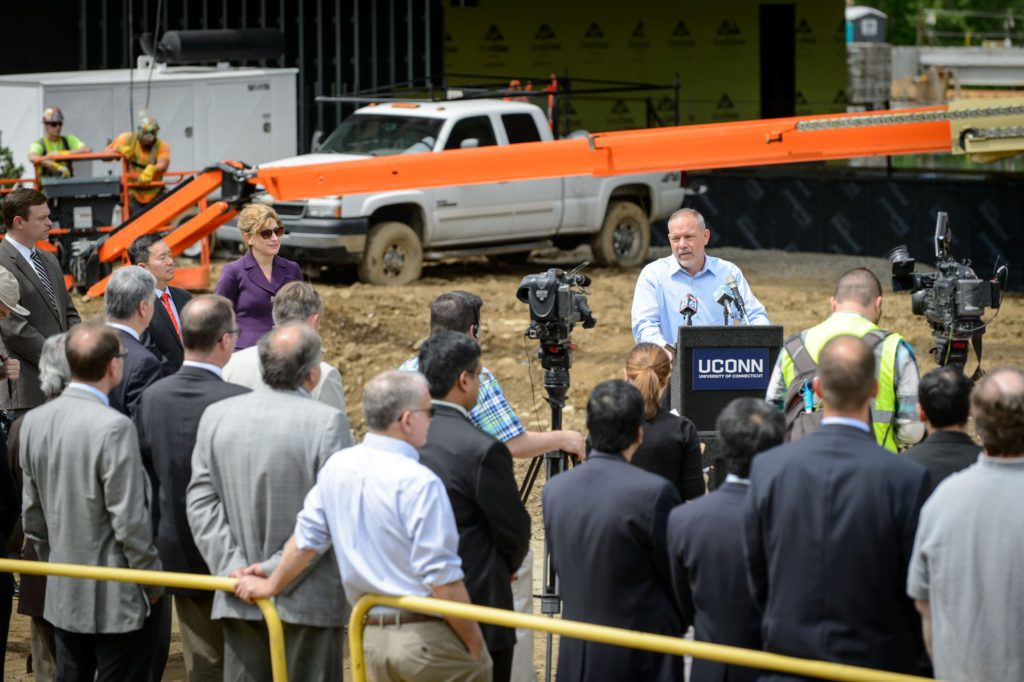 State House Majority Leader Joe Aresimowicz speaks during the topping off ceremony of the Innovation Partnership Building on May 31, 2016. (Peter Morenus/UConn Photo)