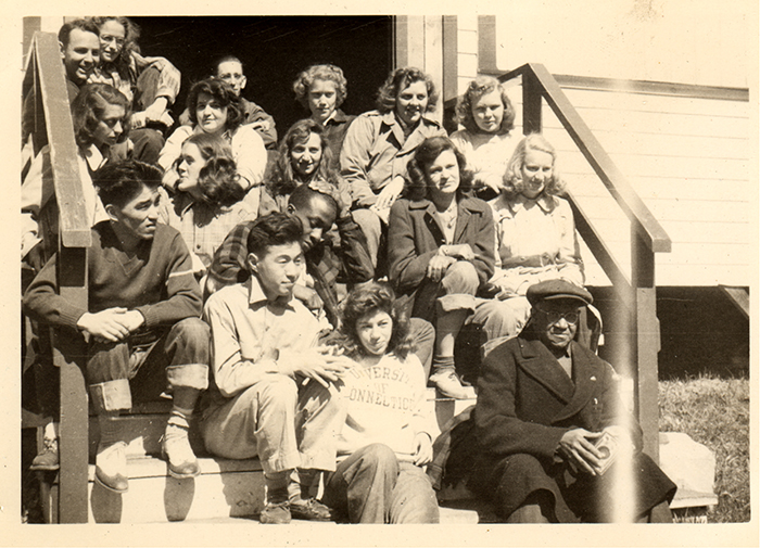 Satoshi Oishi and his future wife Jeanette with a group of UConn Students in 1947. Satoshi and Jeanette are in the center of the front row.