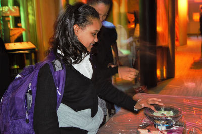 Lauren Anderson of Carmen Arace Middle School checks out oobleck