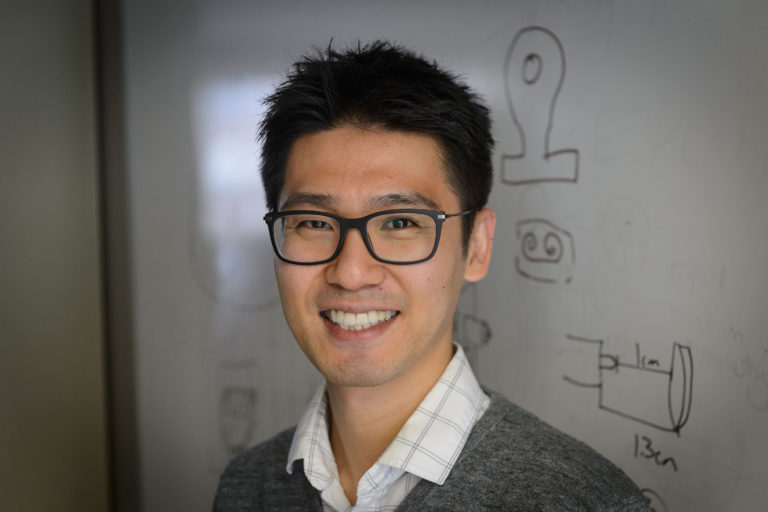 UConn researcher Seok-Woo Lee has developed a new shape memory material that can help send unmanned probes to distant star systems. (Peter Morenus/UConn Photo)