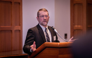 UConn is launching a new partnership to provide R&D support to companies in the eastern part of the state. Lawrence Silbart, vice provost for strategic initiatives,  spoke at a launch event recently. (Chris LaRosa/UConn Photo).