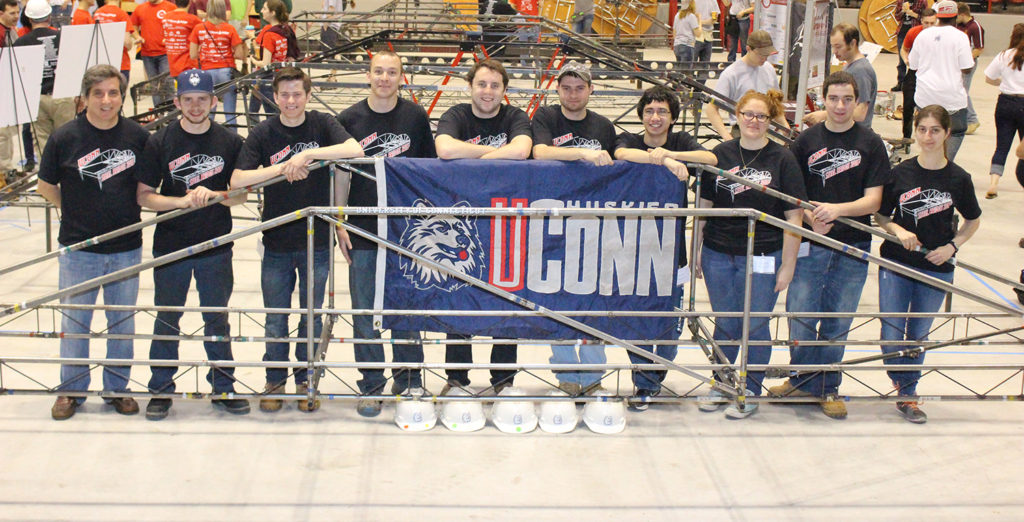 The team poses after the competition. From left are Michael Culmo, Dennis Gehring, Kevin McMullen, Adam Weber, Brendan Madigan, Richard Breitenbach, Kevin Ellis, Brianna Paolillo, Clint Cornacchia, and Manal Tahhan.  Missing from the photo is Jordan Kovacs. (photo courtesy of Francis McMullen)