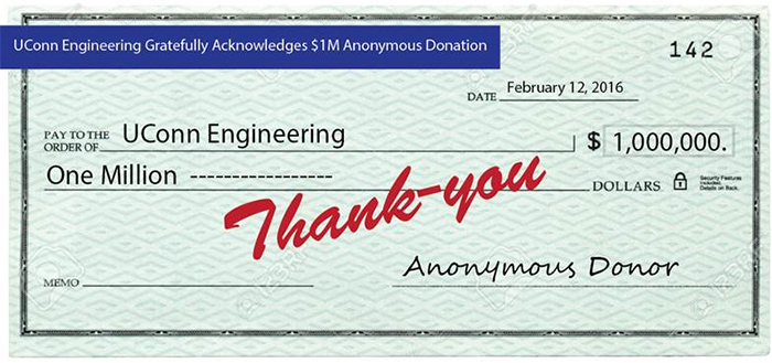UConn School of Engineering receives $1M anonymous donor check