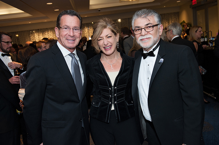 From left are Connecticut Governor Dannel Malloy, UConn President Susan Herbst, and UConn Engineering Dean Kazem Kazerounian. All three spoke at the gala.