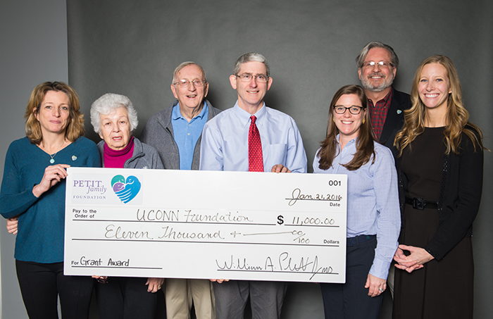 The Petit Family Foundation Donated to UConn's Young Women in STEM conference, Multiply Your Options at a press conference on January 21, 2016.  From Left are: Johanna Chapman-Petit, Petit Family Foundation Board Member; Barbara Petit, Bill Petit, Sr,, Petit Family Foundation Vice President; Kevin McLaughlin, UConn School of Engineering Diversity Program Director; Abby O'Brien, Director of Development for Health Sciences at  UConn Foundation; and Dr. Bill Petit, Jr. PFF President.