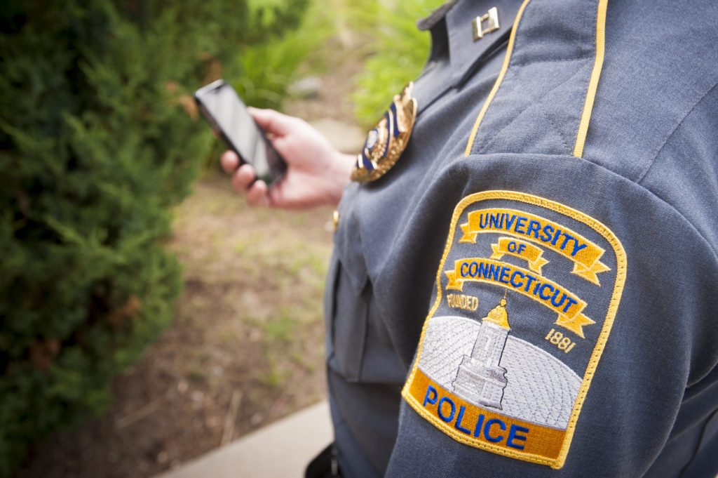 UConn has installed a new system that can detect gunshots and explosions, and send live video feed to officers' cellphones. (Sean Flynn/UConn Photo)