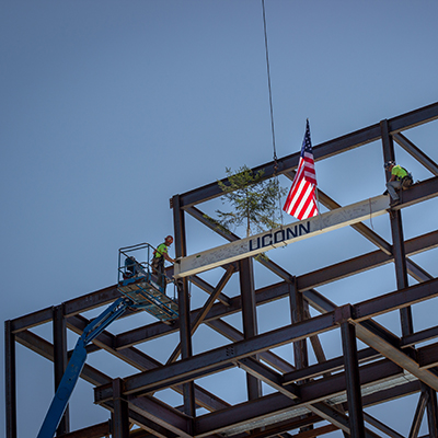 uconn marks construction milestone for new engineering complex