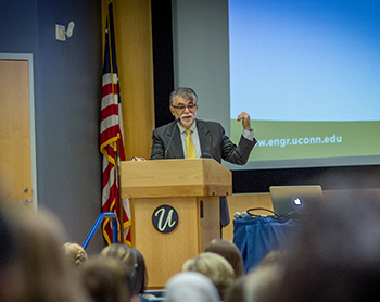 UConn Engineering Dean Kazem Kazerounian speaks at the second annual Women In Engineering Day.